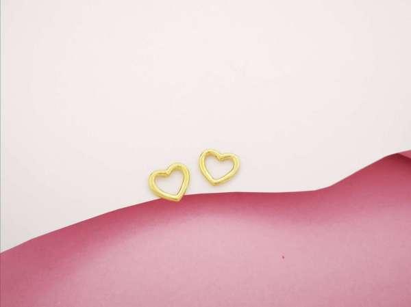 Obris srca srebrne naušnice pozlata