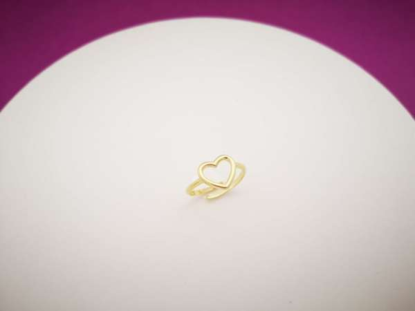 Obris srca srebrni prsten pozlata