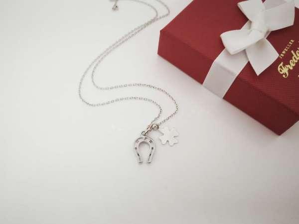 Potkova djetelina srebrna ogrlica