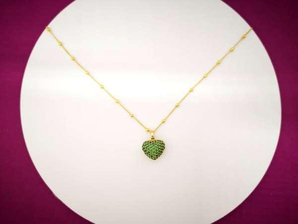 Zeleno srce pozlata srebrna ogrlica