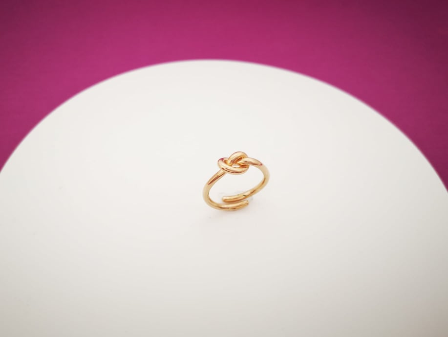 Love knot rose srebrni prsten