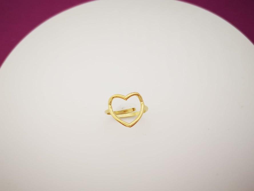 Obris srca srebrni prsten pozlata M