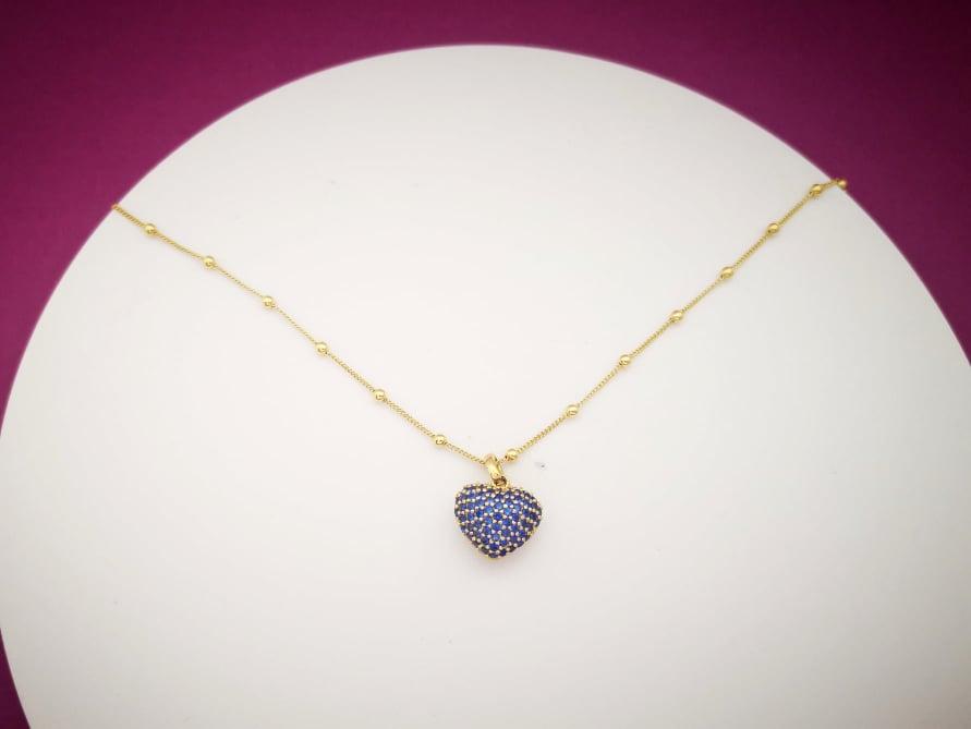 Plavo srce srebrna ogrlica pozlata