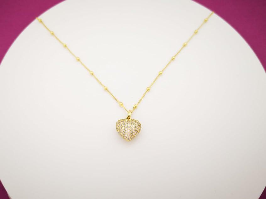 Golden heart srebrna ogrlica