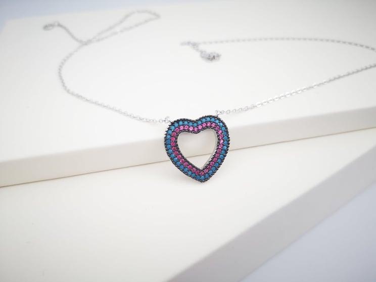 Multi color heart srebrna ogrlica