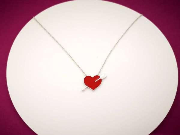 Red love heart srebrna ogrlica