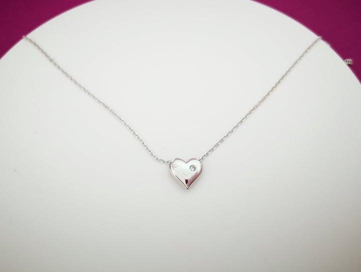 Srce kratka srebrna ogrlica