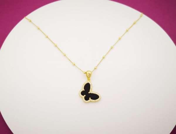 Black butterfly srebrna ogrlica