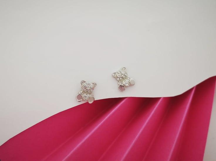 Teddy bears srebrne naušnice