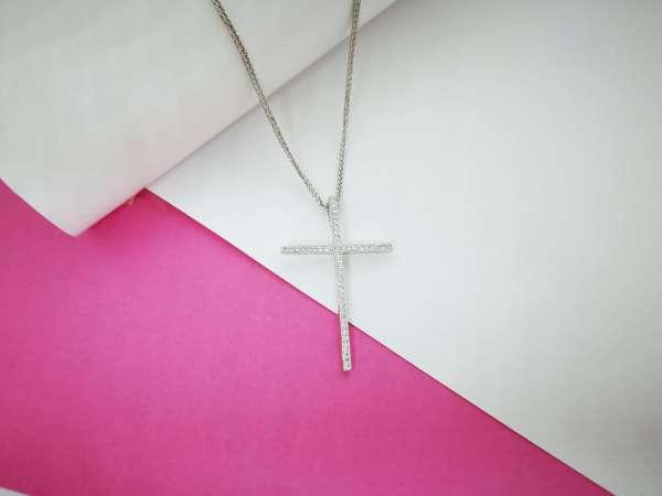 Religious cross srebrna ogrlica