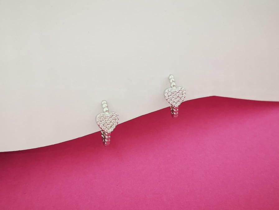 Dva srca srebrne naušnice