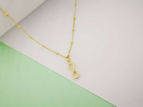 Infinity srebrna ogrlica pozlata