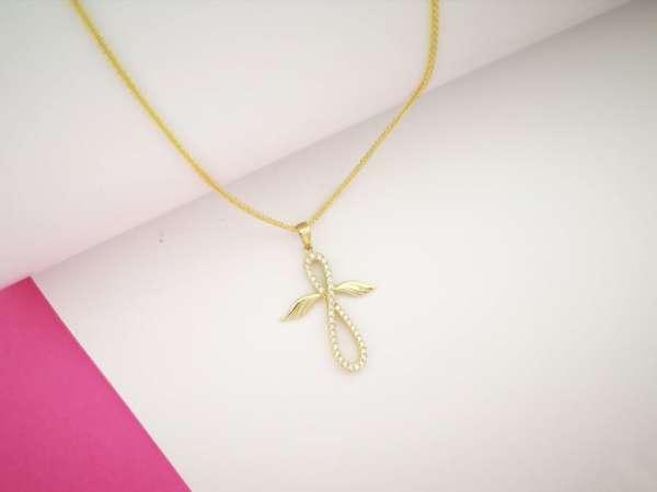 Zlatna ogrlica infinity cross