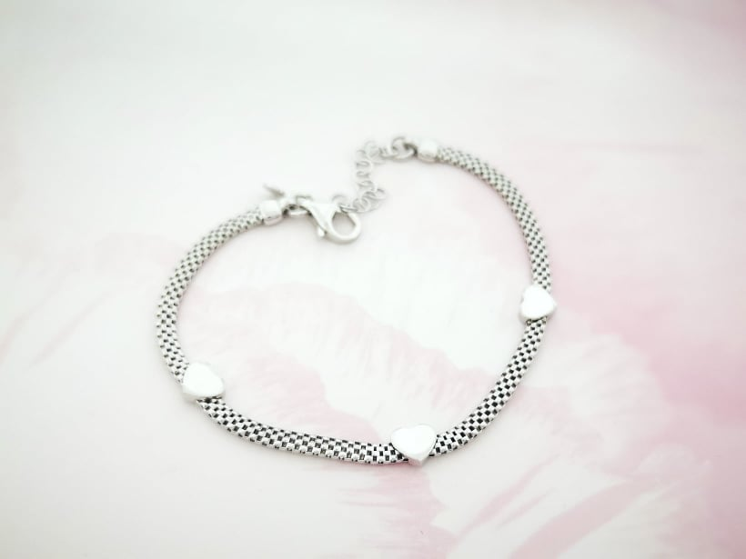 Hearts srebrna narukvica