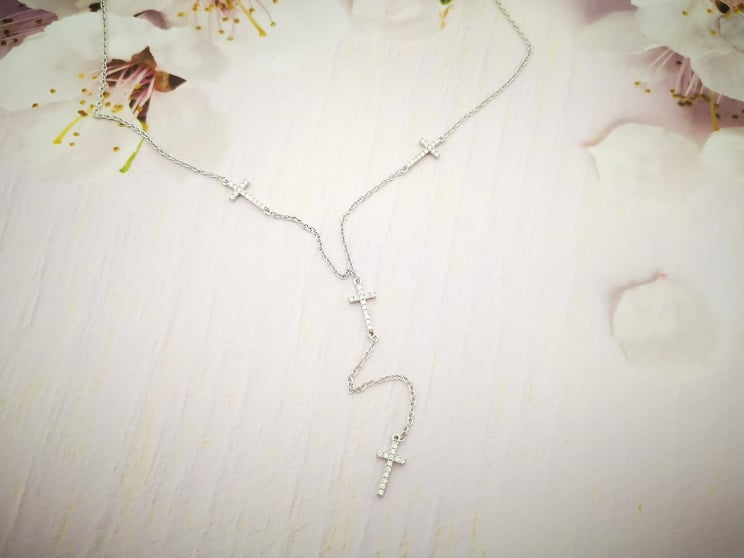 Sparkly cross srebrna ogrlica