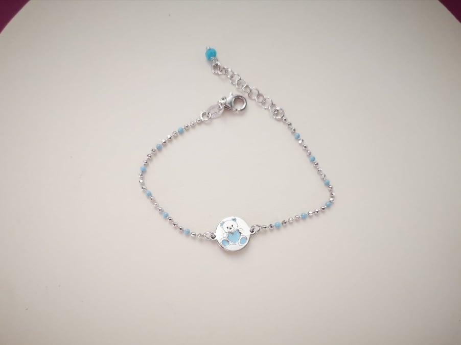 Teddy blue srebrna narukvica