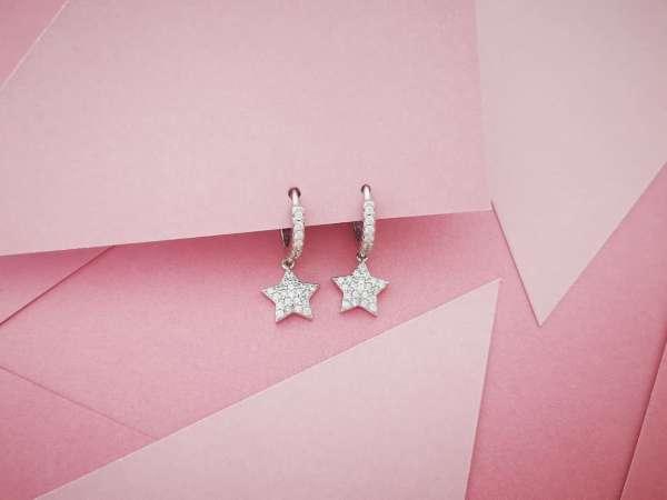 Silver stars naušnice
