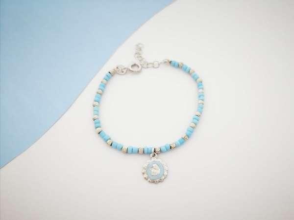 Angel blue srebrna narukvica za djecu